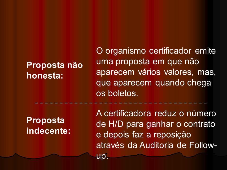 O organismo certificador emite uma proposta em que não aparecem vários valores, mas, que aparecem quando chega os boletos.