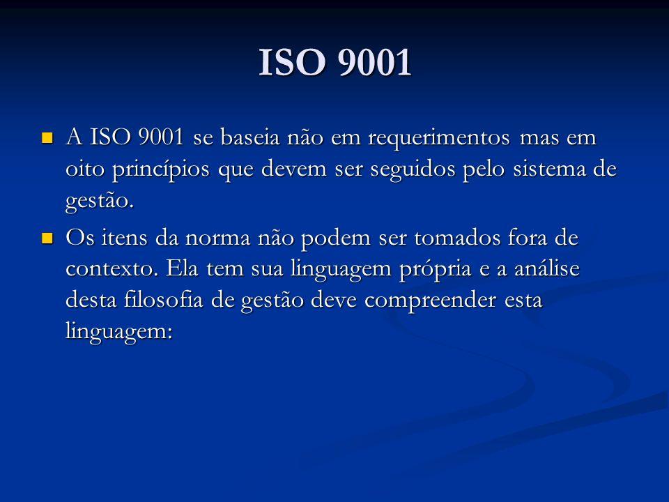 ISO 9001 A ISO 9001 se baseia não em requerimentos mas em oito princípios que devem ser seguidos pelo sistema de gestão.