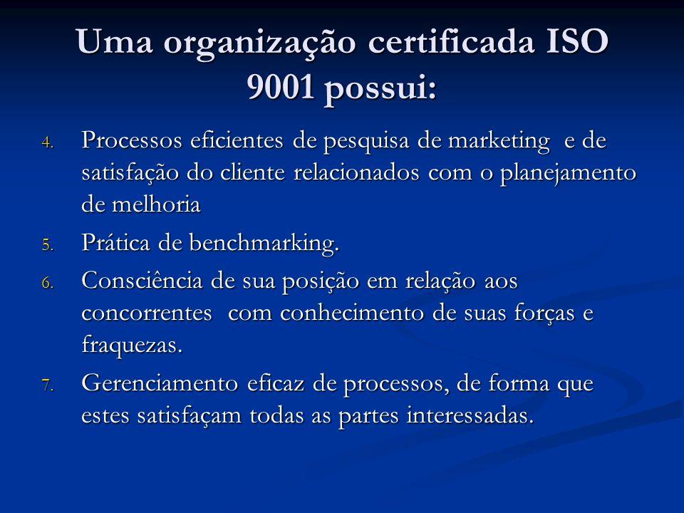 Uma organização certificada ISO 9001 possui:
