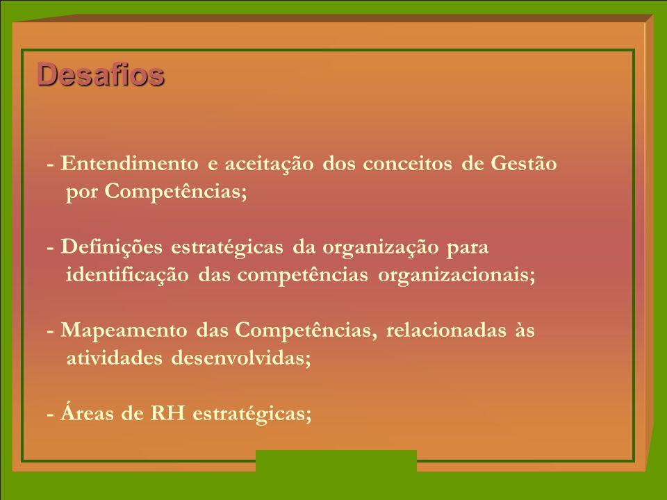 Desafios - Entendimento e aceitação dos conceitos de Gestão por Competências;