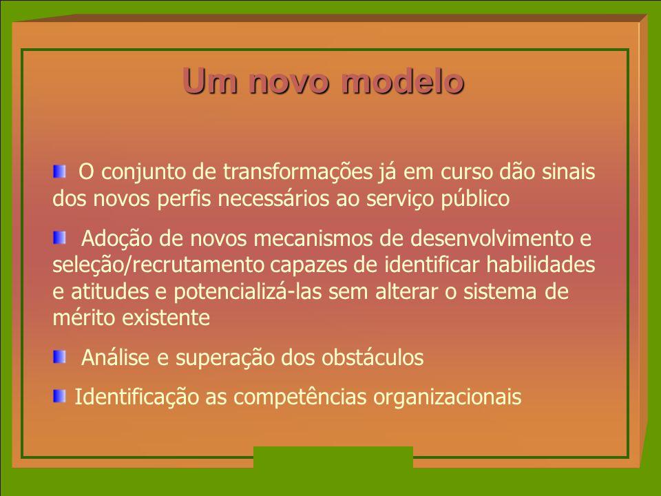 Um novo modelo O conjunto de transformações já em curso dão sinais dos novos perfis necessários ao serviço público.
