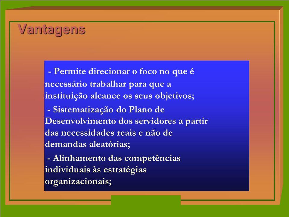 Vantagens - Permite direcionar o foco no que é necessário trabalhar para que a instituição alcance os seus objetivos;