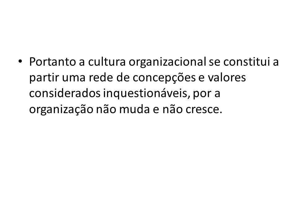 Portanto a cultura organizacional se constitui a partir uma rede de concepções e valores considerados inquestionáveis, por a organização não muda e não cresce.