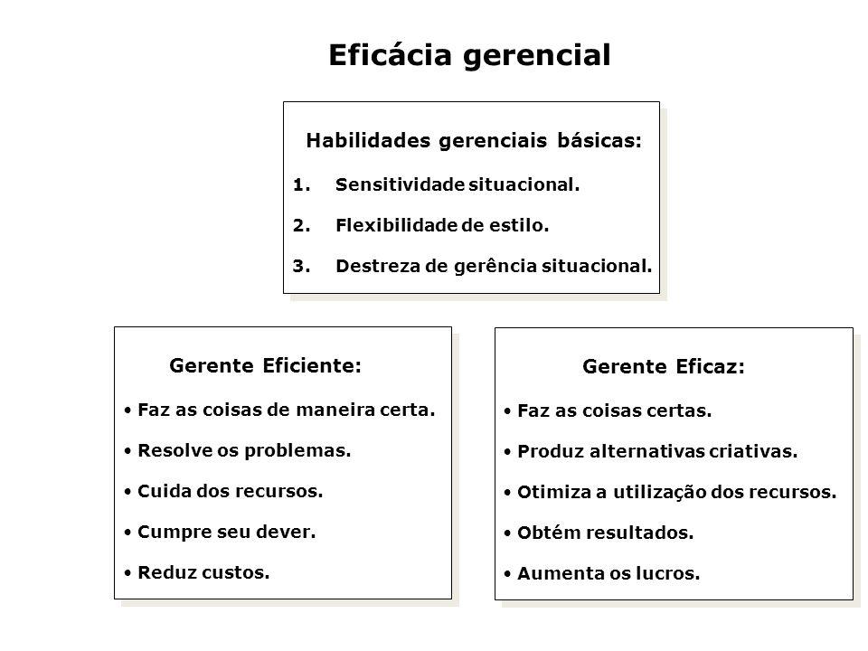 Eficácia gerencial Habilidades gerenciais básicas: Gerente Eficiente: