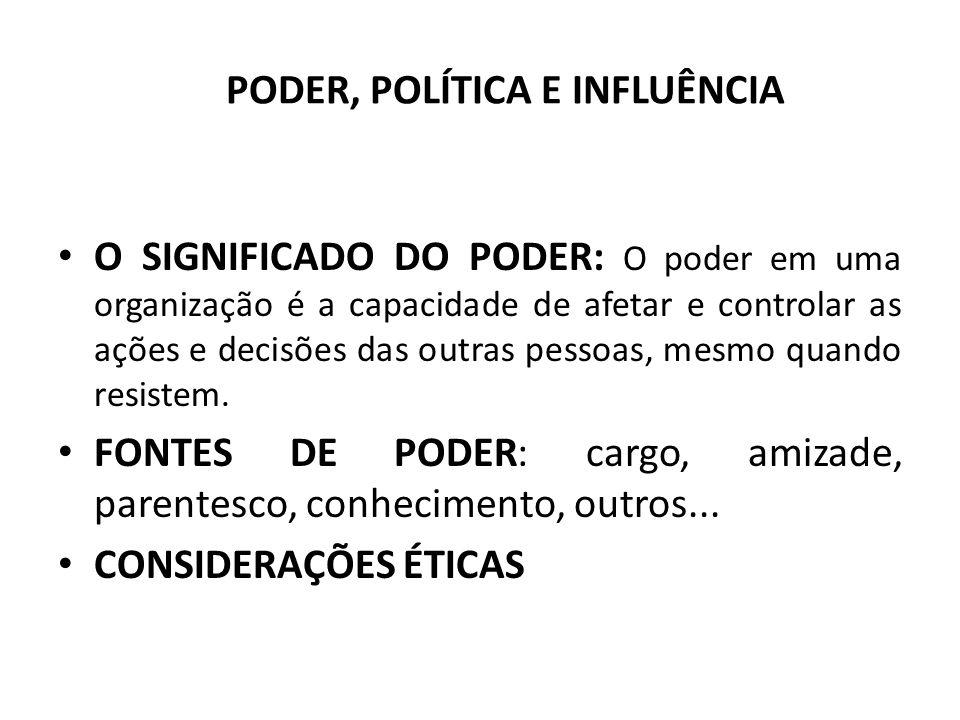 PODER, POLÍTICA E INFLUÊNCIA