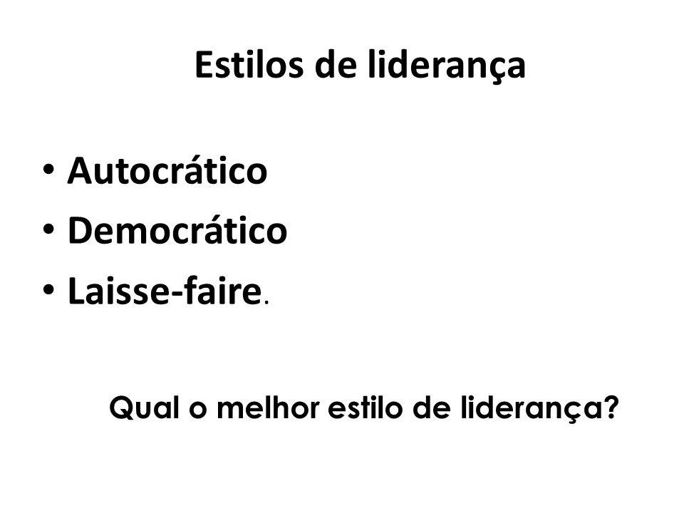Estilos de liderança Autocrático Democrático Laisse-faire.