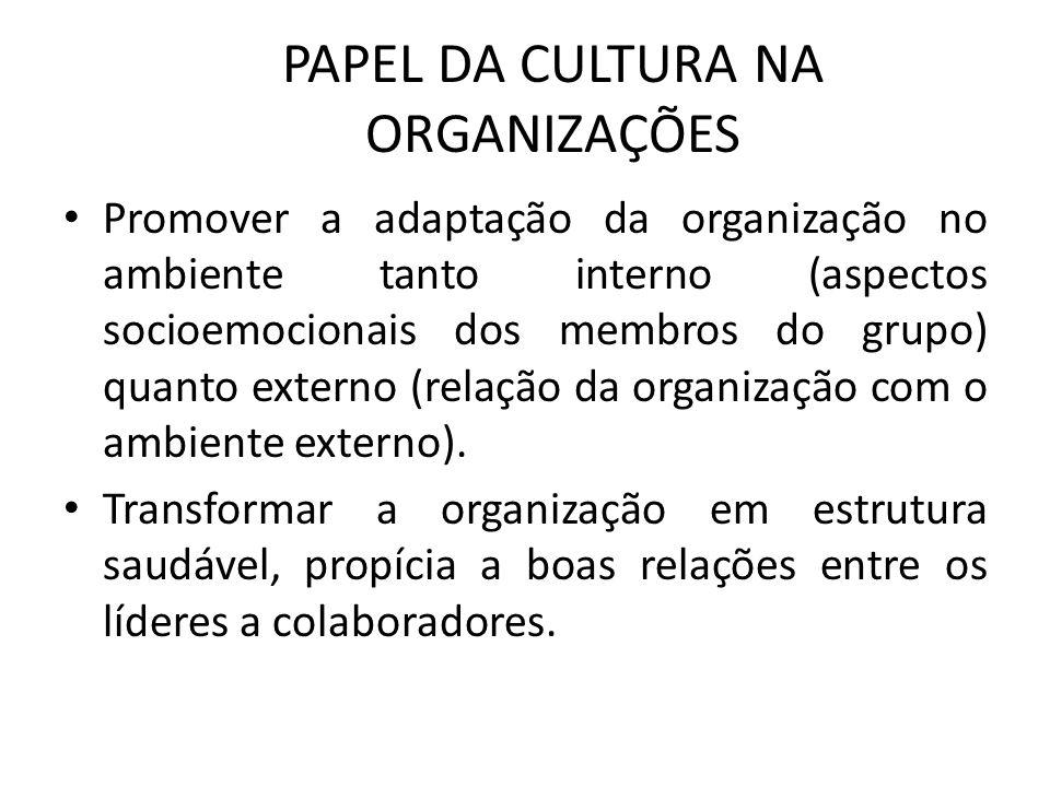 PAPEL DA CULTURA NA ORGANIZAÇÕES