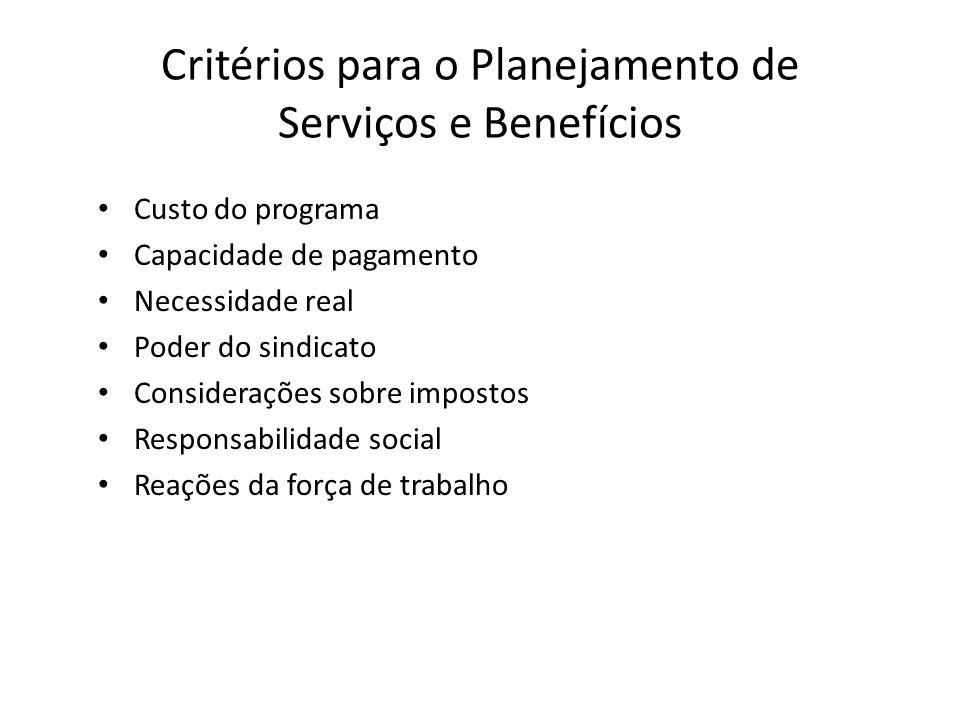 Critérios para o Planejamento de Serviços e Benefícios
