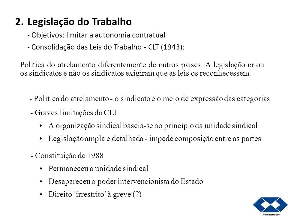 2. Legislação do Trabalho