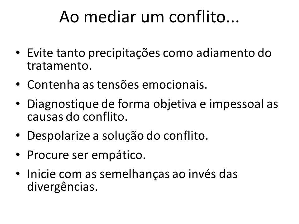 Ao mediar um conflito...Evite tanto precipitações como adiamento do tratamento. Contenha as tensões emocionais.