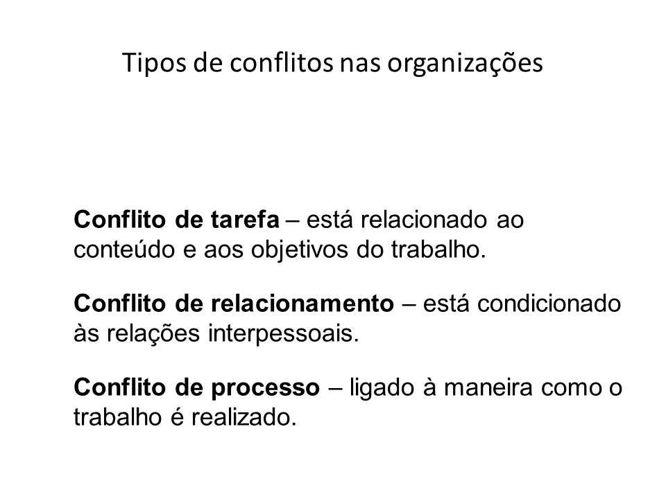 Tipos de conflitos nas organizações