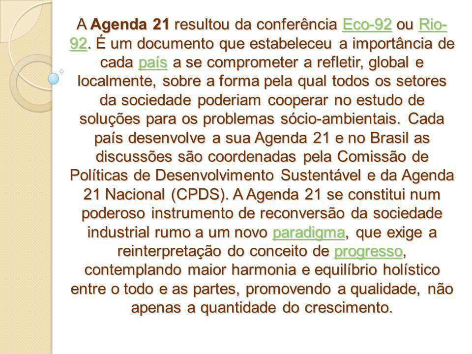 A Agenda 21 resultou da conferência Eco-92 ou Rio-92