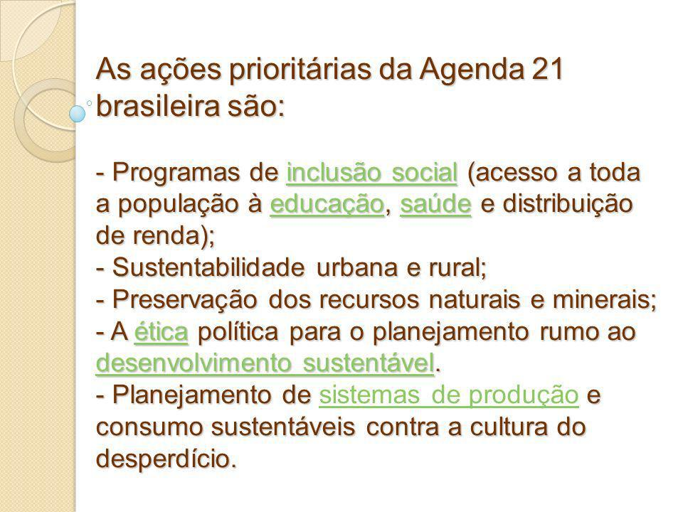 As ações prioritárias da Agenda 21 brasileira são: - Programas de inclusão social (acesso a toda a população à educação, saúde e distribuição de renda); - Sustentabilidade urbana e rural; - Preservação dos recursos naturais e minerais; - A ética política para o planejamento rumo ao desenvolvimento sustentável.