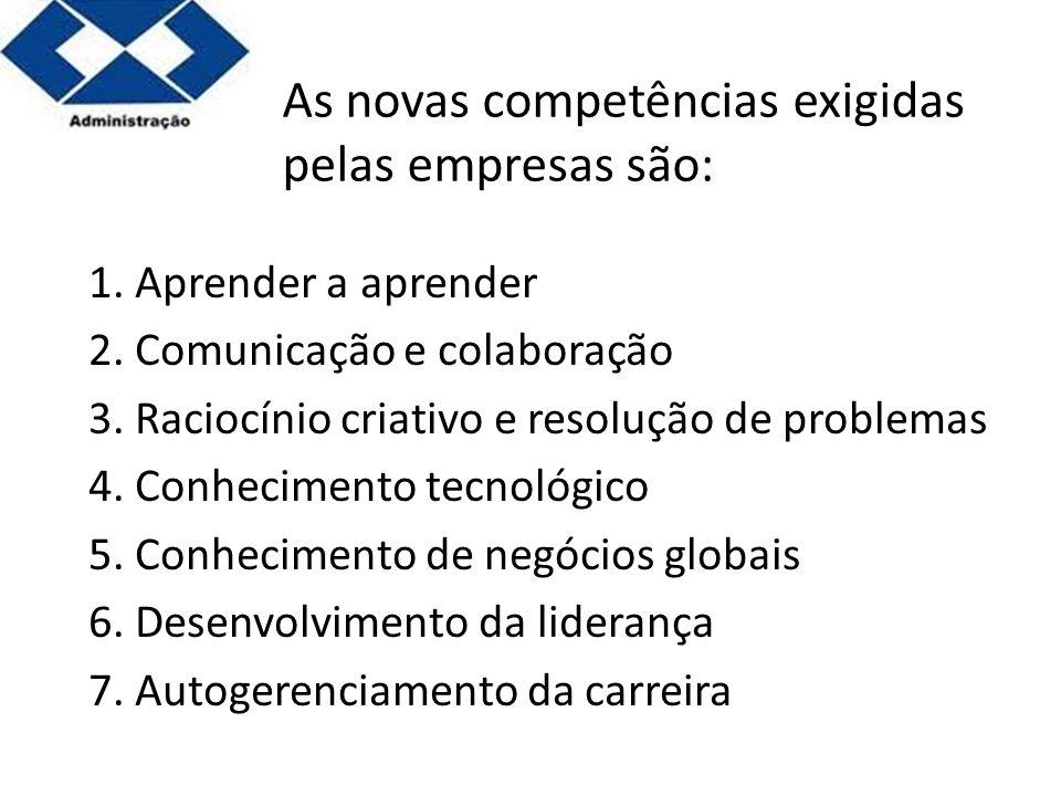 As novas competências exigidas pelas empresas são:
