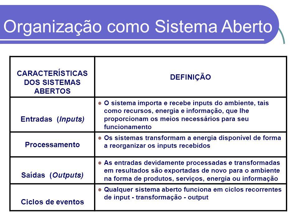 CARACTERÍSTICAS DOS SISTEMAS ABERTOS