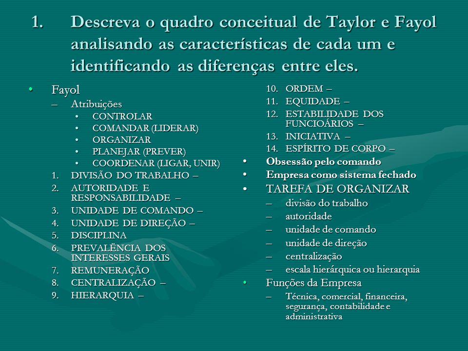 Descreva o quadro conceitual de Taylor e Fayol analisando as características de cada um e identificando as diferenças entre eles.