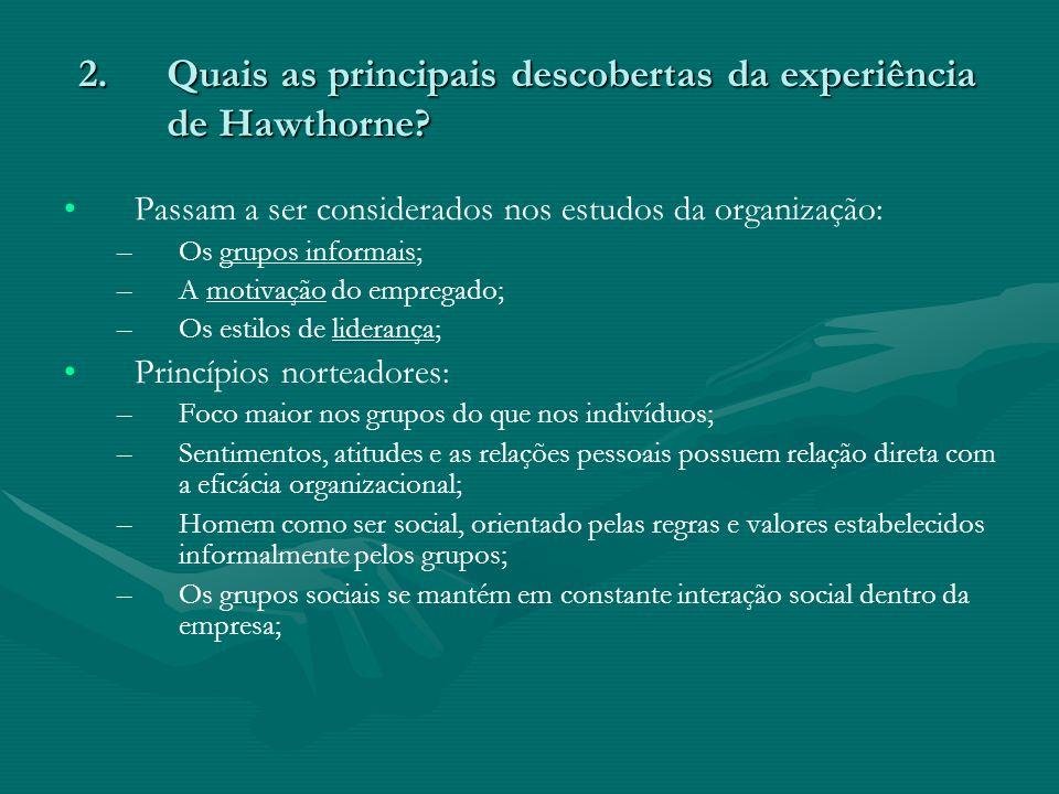 Quais as principais descobertas da experiência de Hawthorne