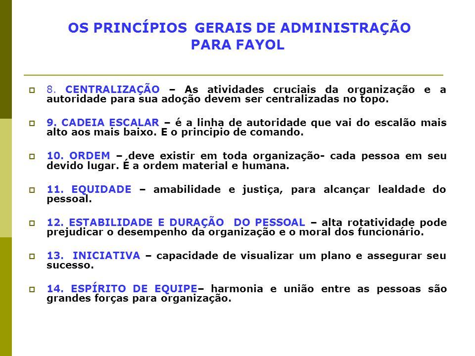 OS PRINCÍPIOS GERAIS DE ADMINISTRAÇÃO PARA FAYOL