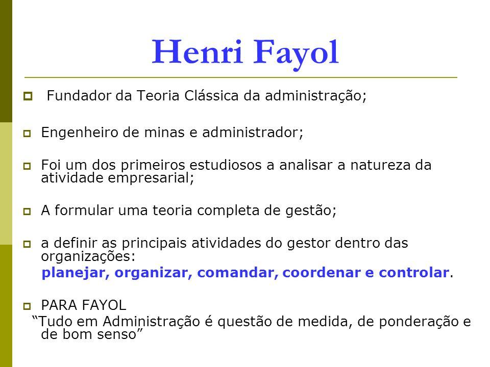 Henri Fayol Fundador da Teoria Clássica da administração;