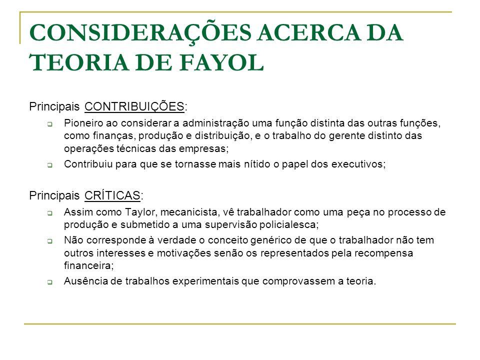 CONSIDERAÇÕES ACERCA DA TEORIA DE FAYOL