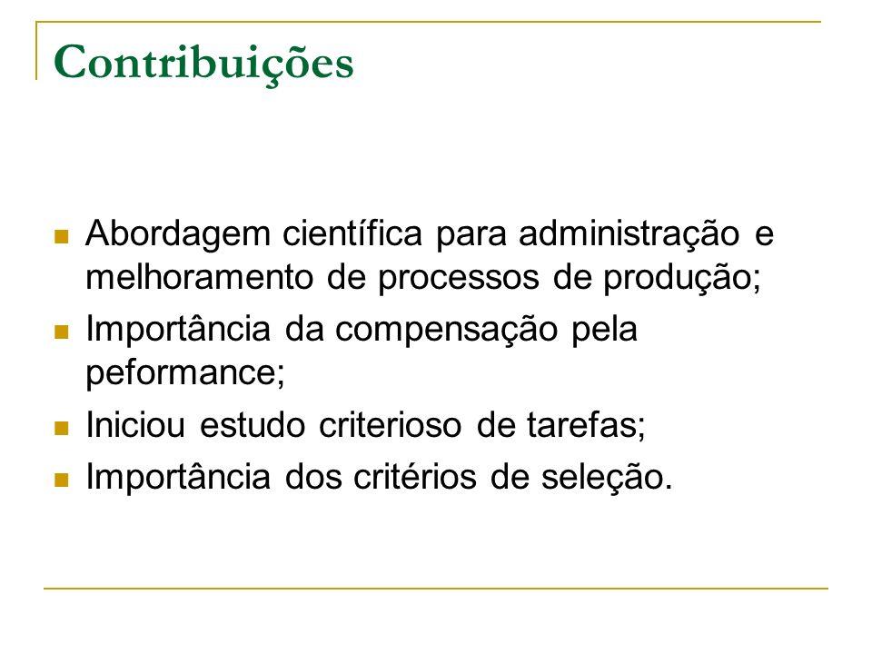 Contribuições Abordagem científica para administração e melhoramento de processos de produção; Importância da compensação pela peformance;