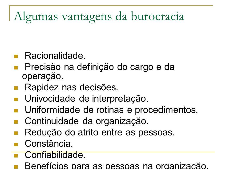 Algumas vantagens da burocracia