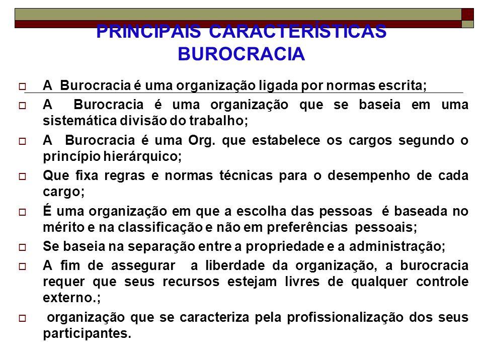 PRINCIPAIS CARACTERÍSTICAS BUROCRACIA