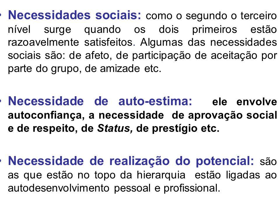 Necessidades sociais: como o segundo o terceiro nível surge quando os dois primeiros estão razoavelmente satisfeitos. Algumas das necessidades sociais são: de afeto, de participação de aceitação por parte do grupo, de amizade etc.