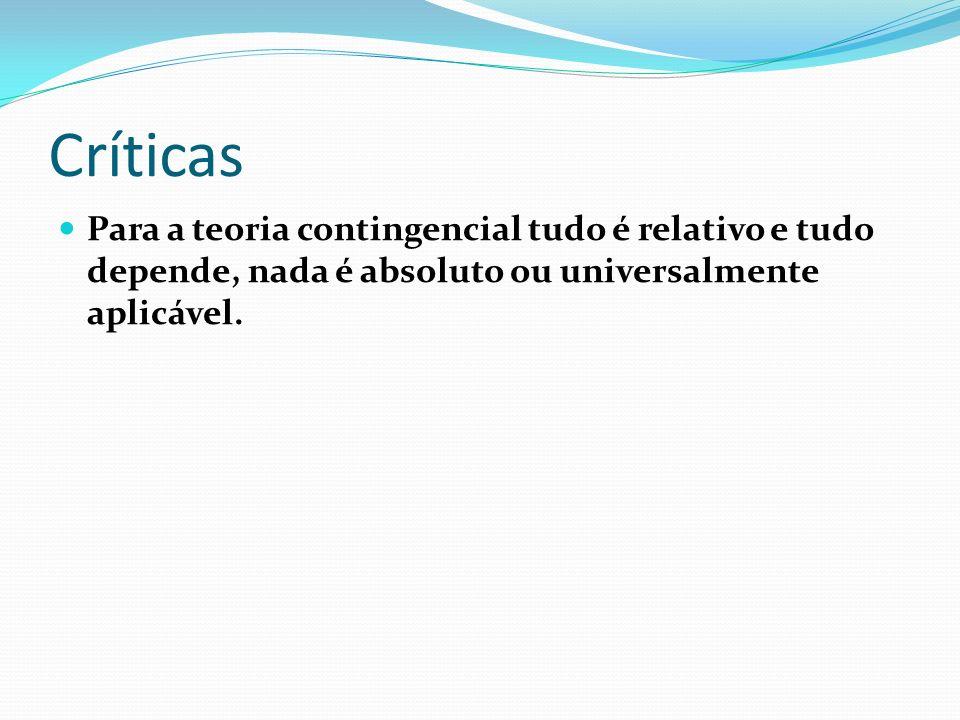 CríticasPara a teoria contingencial tudo é relativo e tudo depende, nada é absoluto ou universalmente aplicável.