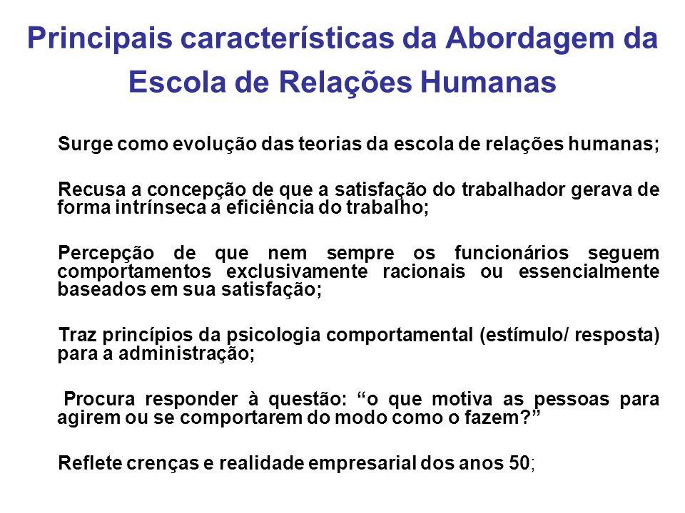 Principais características da Abordagem da Escola de Relações Humanas