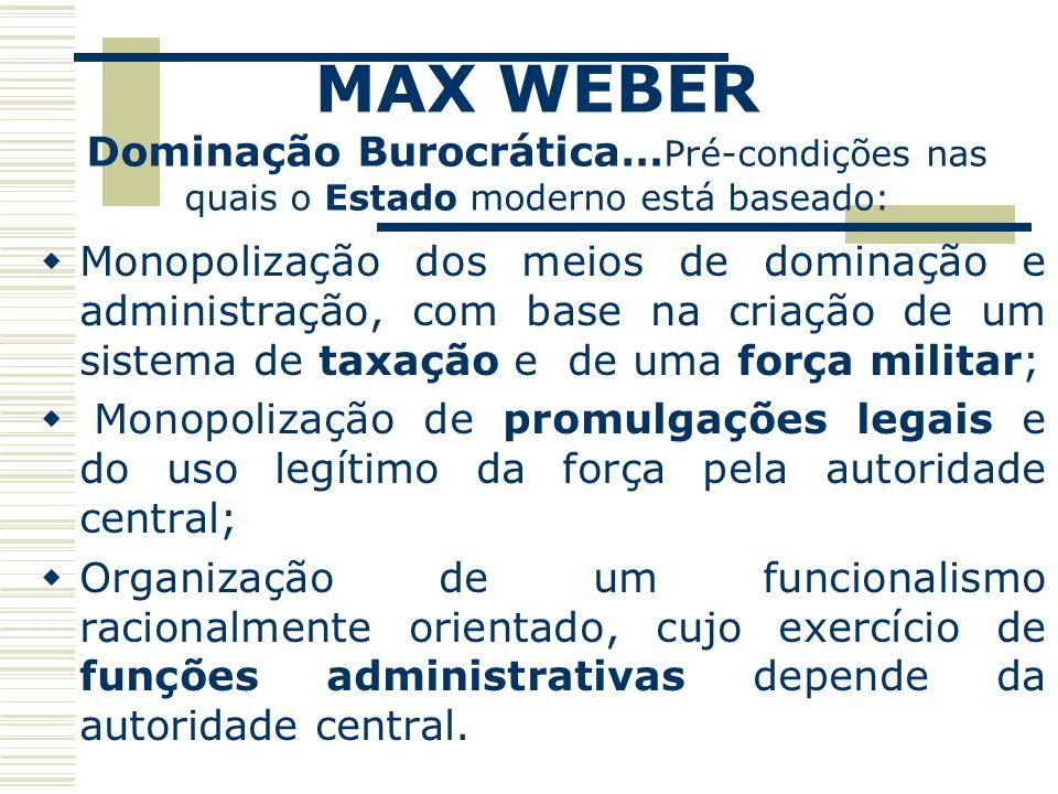 MAX WEBER Dominação Burocrática…Pré-condições nas quais o Estado moderno está baseado: