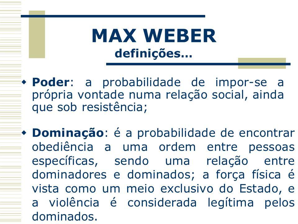 MAX WEBER definições… Poder: a probabilidade de impor-se a própria vontade numa relação social, ainda que sob resistência;