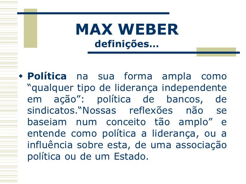 MAX WEBER definições…