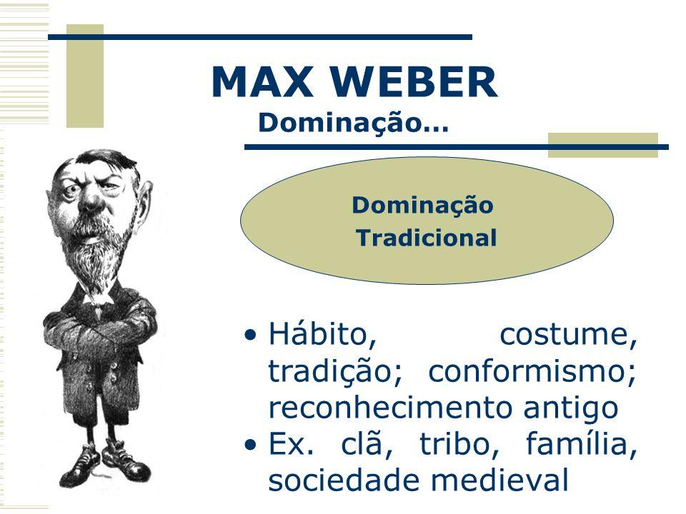 MAX WEBER Dominação… Dominação. Tradicional. Hábito, costume, tradição; conformismo; reconhecimento antigo.
