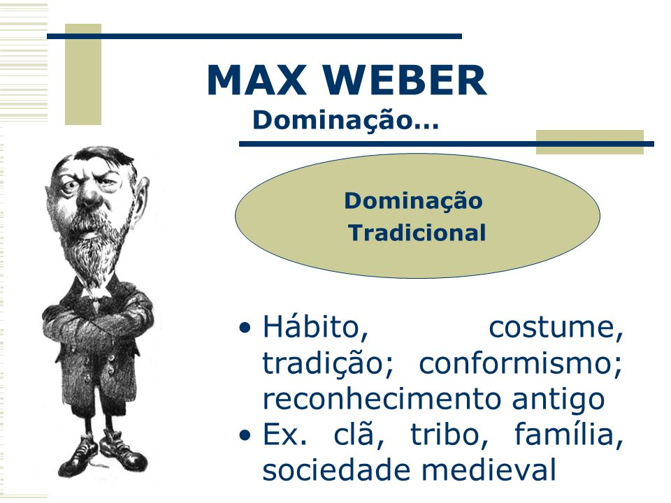 MAX WEBERDominação… Dominação. Tradicional. Hábito, costume, tradição; conformismo; reconhecimento antigo.