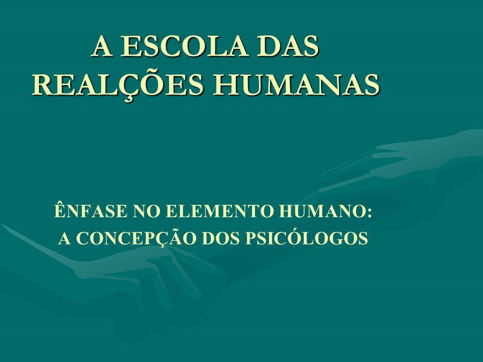 A ESCOLA DAS REALÇÕES HUMANAS