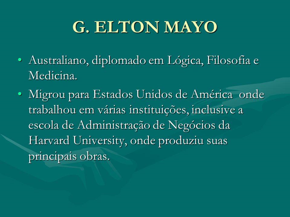 G. ELTON MAYO Australiano, diplomado em Lógica, Filosofia e Medicina.