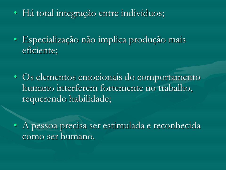 Há total integração entre indivíduos;