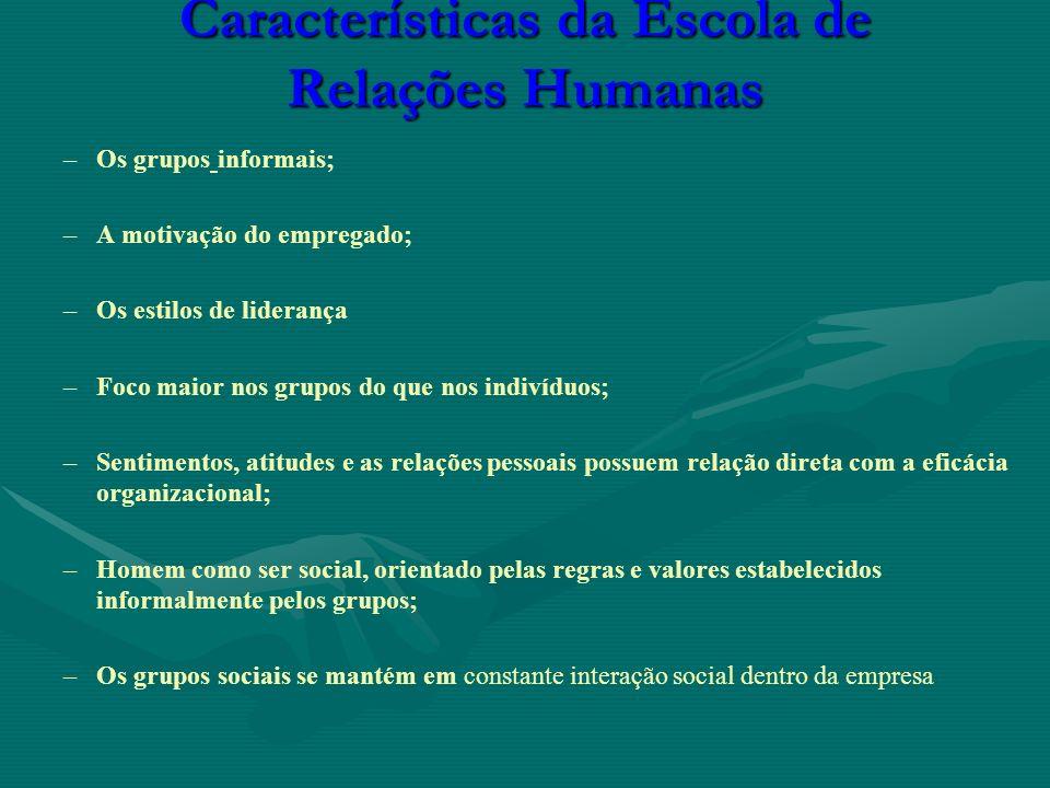 Características da Escola de Relações Humanas