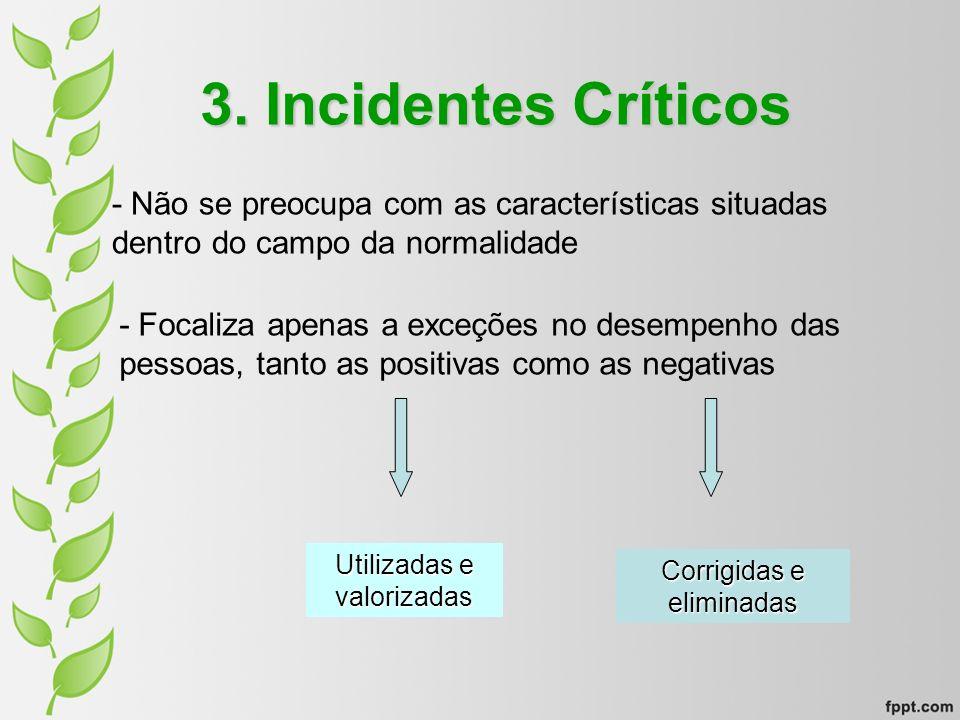 3. Incidentes Críticos - Não se preocupa com as características situadas dentro do campo da normalidade.