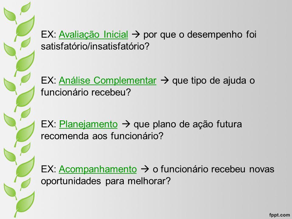 EX: Avaliação Inicial  por que o desempenho foi satisfatório/insatisfatório