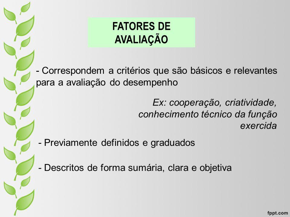 FATORES DE AVALIAÇÃO - Correspondem a critérios que são básicos e relevantes para a avaliação do desempenho.