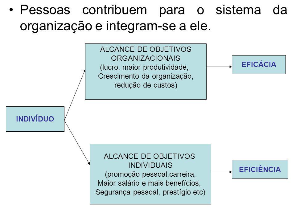 Pessoas contribuem para o sistema da organização e integram-se a ele.
