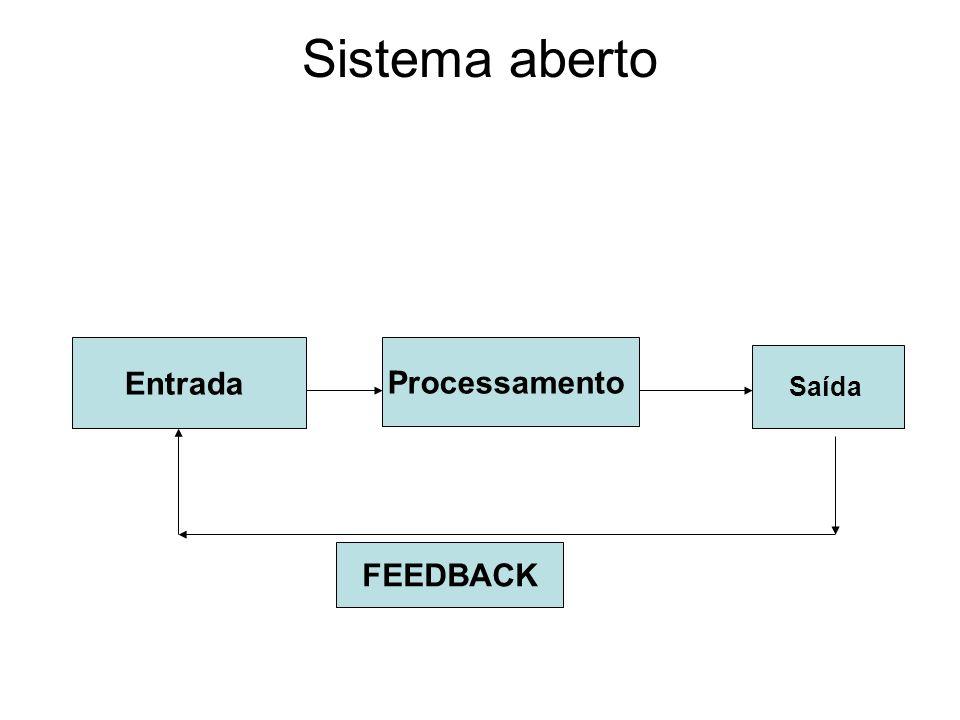 Sistema aberto Entrada Processamento Saída FEEDBACK