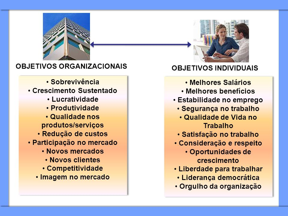 OBJETIVOS ORGANIZACIONAIS OBJETIVOS INDIVIDUAIS