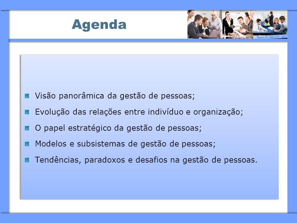 Agenda Visão panorâmica da gestão de pessoas;