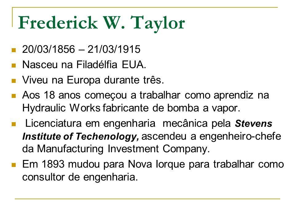 Frederick W. Taylor 20/03/1856 – 21/03/1915 Nasceu na Filadélfia EUA.