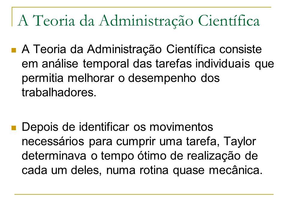 A Teoria da Administração Científica