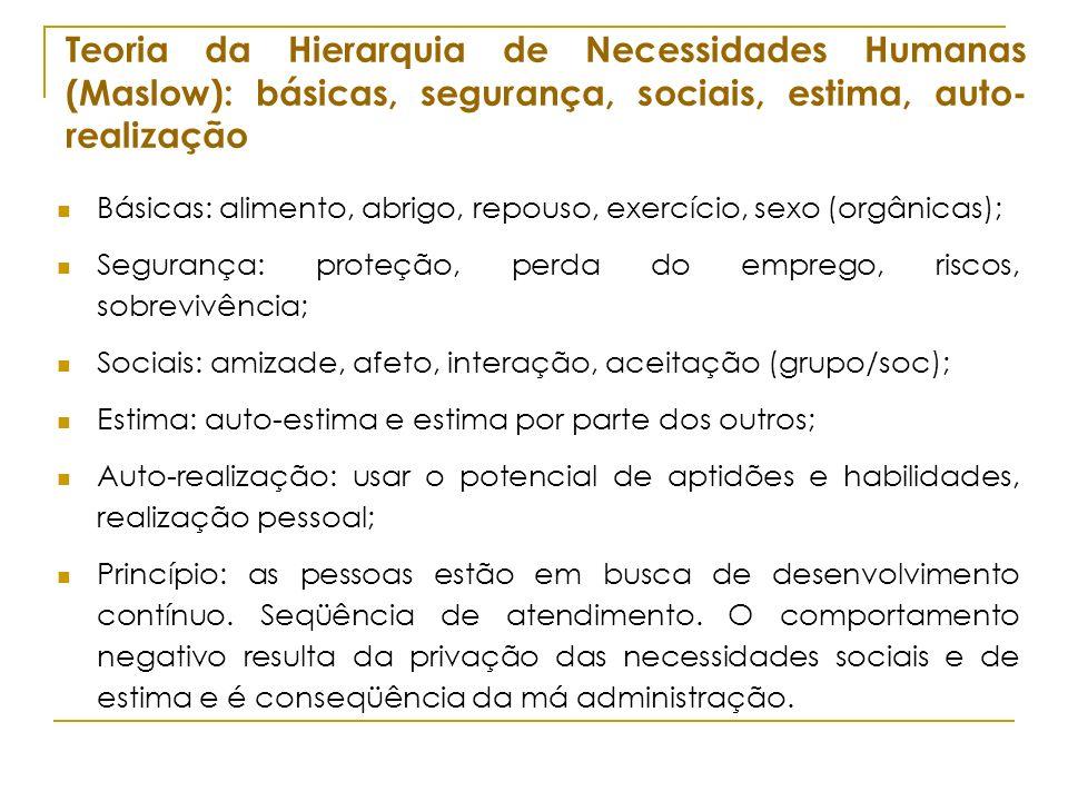 Teoria da Hierarquia de Necessidades Humanas (Maslow): básicas, segurança, sociais, estima, auto-realização