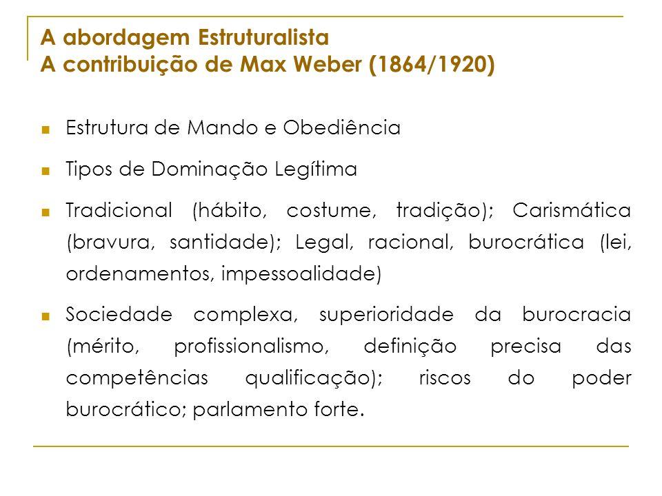 A abordagem Estruturalista A contribuição de Max Weber (1864/1920)